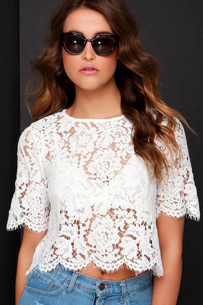 Sheer Genius Ivory Lace Crop Top at Lulus.com!