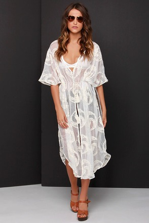 On a Whimsy Cream Embroidered Kimono Top at Lulus.com!