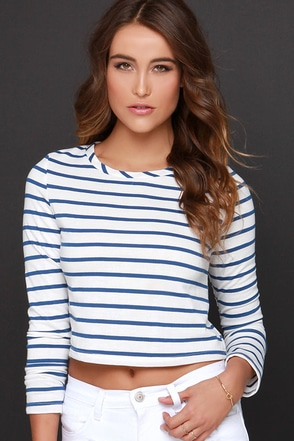 Glamorous Nautical or Nice Blue and White Striped Crop Top at Lulus.com!