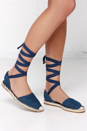 Tied and Seek Blue Denim Espadrille Leg Wrap Sandals at Lulus.com!