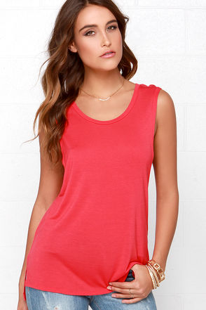 Mercy Me Coral Red Tank Top at Lulus.com!