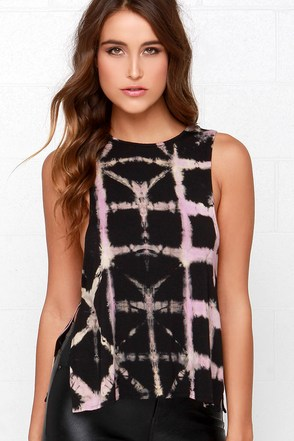 Obey Side Slit Black Tie-Dye Tank Top at Lulus.com!