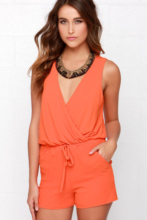 Good Form Orange Romper at Lulus.com!