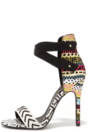 Chinese Laundry Levita Black Geo Print Ankle Strap Heels at Lulus.com!