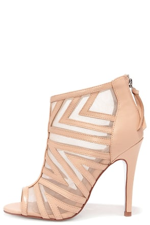 Chinese Laundry Luscious Nude Leather and Mesh Booties at Lulus.com!