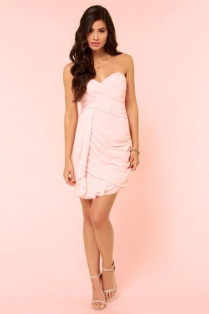 Midnight Masquerade Strapless Peach Dress