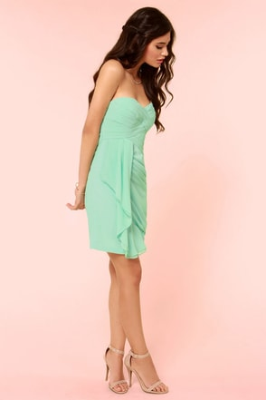 Midnight Masquerade Strapless Mint Green Dress