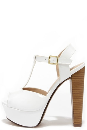 Glossed and Found Nude Patent T Strap Platform Heels at Lulus.com!