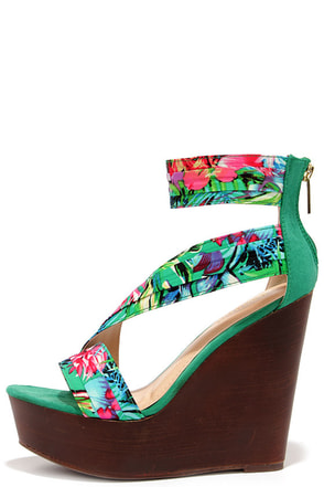 Aloha Seafoam Green Print Ankle Strap Wedges at Lulus.com!