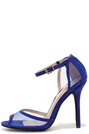 Mesh Indeed Cobalt Blue Mesh Peep Toe Heels at Lulus.com!