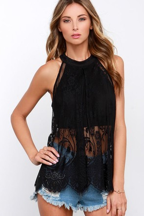 Amazed by You Black Lace Top at Lulus.com!