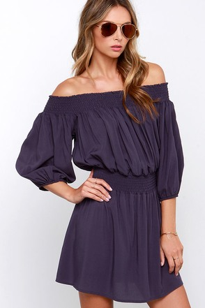 Glamorous Do-si-do Navy Off-the-Shoulder Dress at Lulus.com!