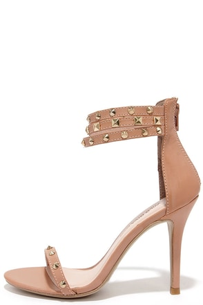 Spikes Palace Nude Studded Ankle Strap Heels at Lulus.com!