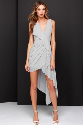 Elegant Gathering Grey High-Low Dress at Lulus.com!