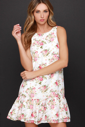 Lucca Couture Little Bo Chic Ivory Floral Print Dress at Lulus.com!