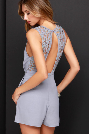 She's a Beauty Grey Lace Romper at Lulus.com!