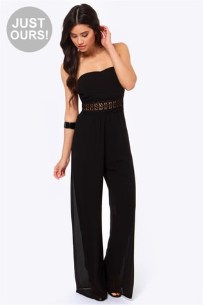 LULUS Exclusive Advanced Romance Black Lace Jumpsuit