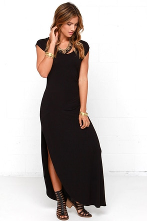 Cinched and Slitted Black Maxi Dress at Lulus.com!