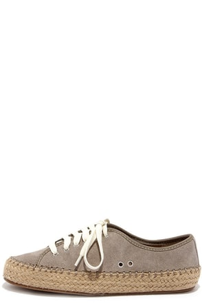 Steve Madden Broadwlk Taupe Suede Lace-Up Espadrille Flats at Lulus.com!