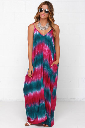 Yours Tule Teal and Fuchsia Tie-Dye Maxi Dress at Lulus.com!