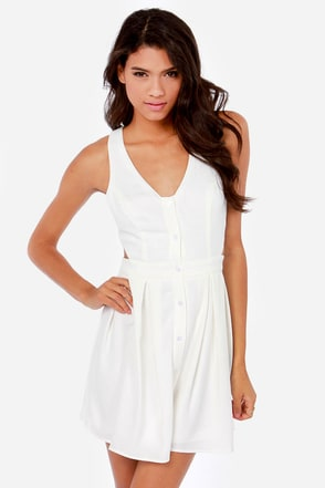 What a Flirt Cutout Ivory Dress
