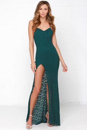 Sweetheart to Heart Forest Green Lace Maxi Dress at Lulus.com!