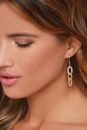 Keep the Chain Gold Rhinestone Earrings at Lulus.com!