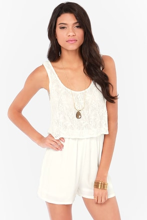 Lacy Gaga Ivory Lace Romper