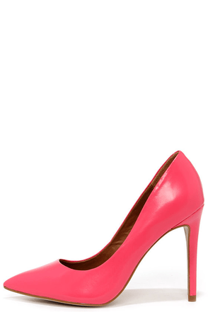 Steve Madden Proto Pink Leather Pointed Pumps at Lulus.com!