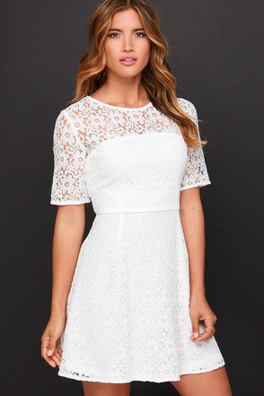 Love and Laughter Ivory Lace Dress at Lulus.com!