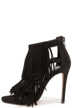 Steve Madden Fringly Black Suede Leather Dress Sandals at Lulus.com!