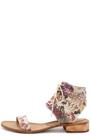 Latigo Rose Floral Leather Lace-Up Sandals at Lulus.com!