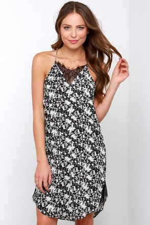 Olive & Oak Leave a Space for Lace Black and Ivory Slip Dress at Lulus.com!