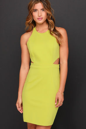 Serves You Bright Chartreuse Dress at Lulus.com!