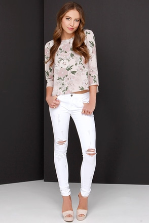 Distress Call Distressed Ivory Skinny Jeans at Lulus.com!