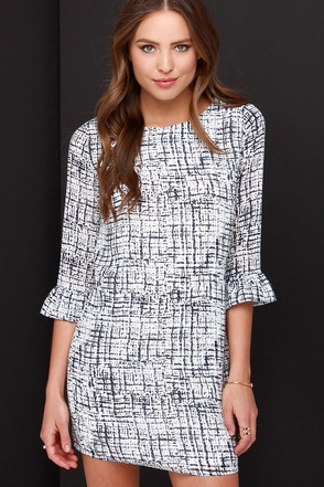 Darling Polly Ivory and Navy Blue Print Dress at Lulus.com!