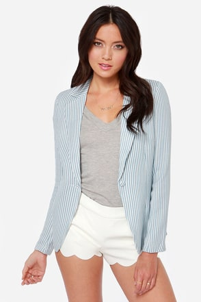 Career Cutie Blue Striped Blazer