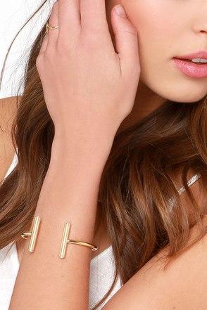 Worlds Apart Gold Rhinestone Bracelet at Lulus.com!