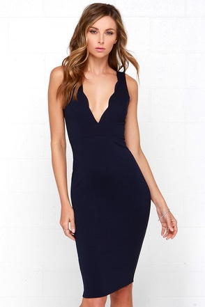 Work of Heart Midi Navy Blue Bodycon Dress at Lulus.com!