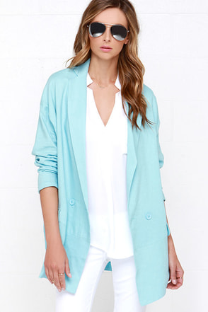 Double Breasted Beaut Light Blue Oversized Jacket at Lulus.com!