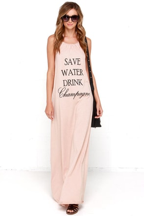 Brokedown Save Water Drink Champagne Beige Maxi Halter Dress at Lulus.com!