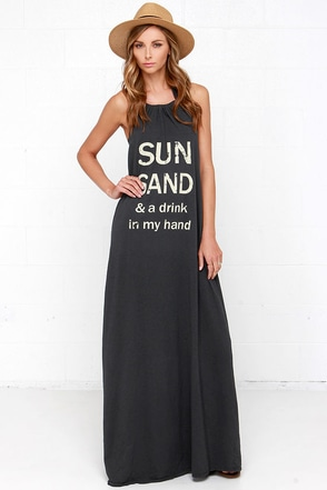 Brokedown Sun, Sand Washed Black Maxi Halter Dress at Lulus.com!