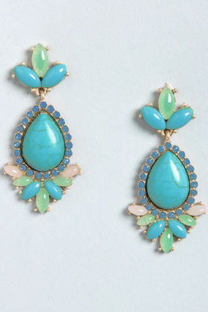 Fame and Fortune Turquoise Rhinestone Earrings