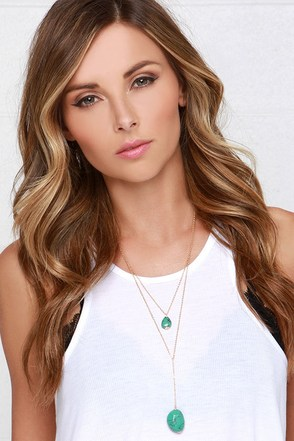 Belize Me Gold and Turquoise Layered Necklace at Lulus.com!