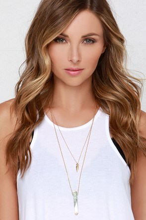 Double Dare Ya Gold Layered Crystal Necklace at Lulus.com!