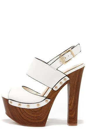Jessica Simpson Dallis Powder White Leather Platform Sandals at Lulus.com!