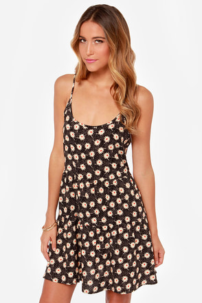 Those Were the Daisies Floral Print Black Dress
