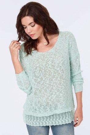 My Fair Lacy Light Blue Sweater