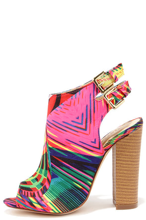Bootie-licious Multi Print Peep Toe Booties at Lulus.com!