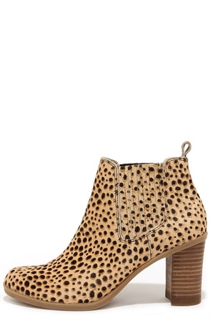 Dr. Scholl's London Tan and Black Leopard Pony Fur Booties at Lulus.com!